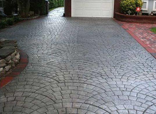 European fan stamped concrete driveway