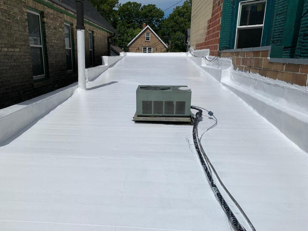 White flat roof membrane coating